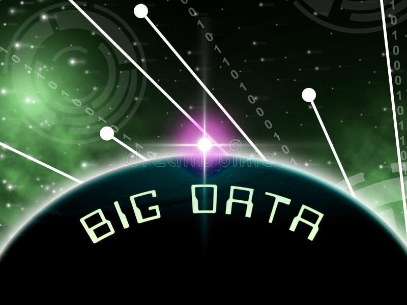 Grote Gegevensbol die wereldwijd 3d Illustratie gegevens verwerken stock illustratie