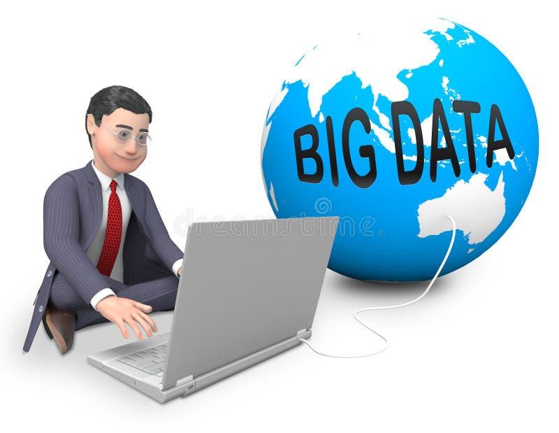 Grote Gegevensbol die wereldwijd het 3d Teruggeven gegevens verwerken vector illustratie