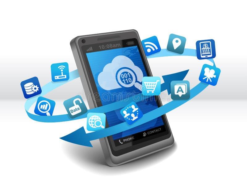 Grote Gegevensbron over mobiele telefoon royalty-vrije illustratie