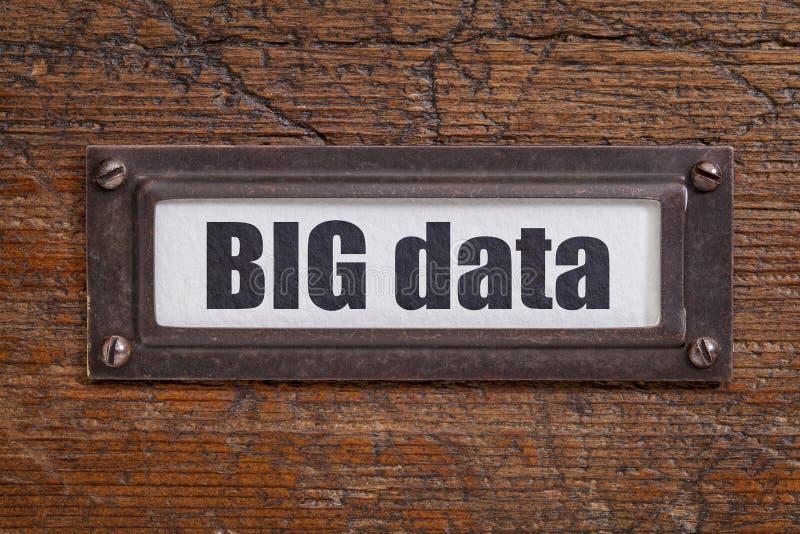 Grote gegevensmarkering - het etiket van het dossierkabinet stock foto