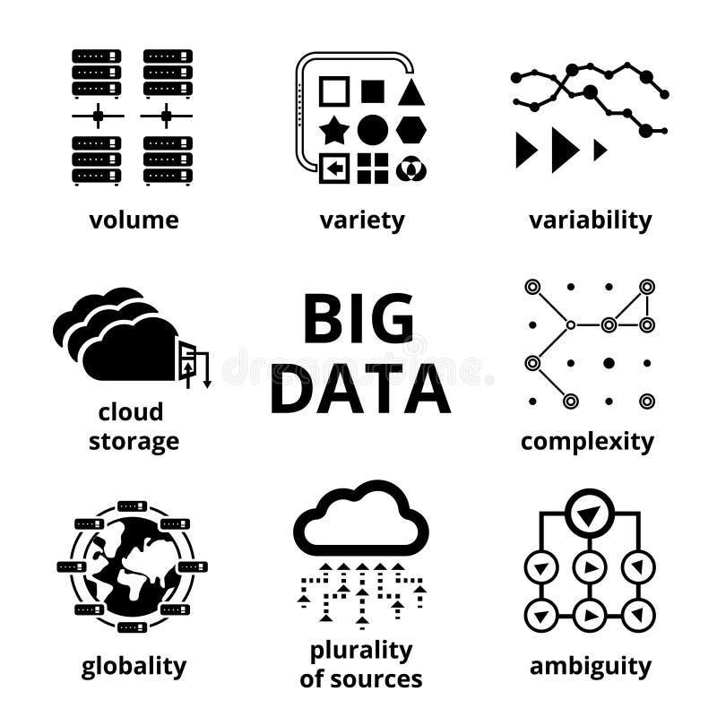 Grote gegevenspictogrammen stock illustratie