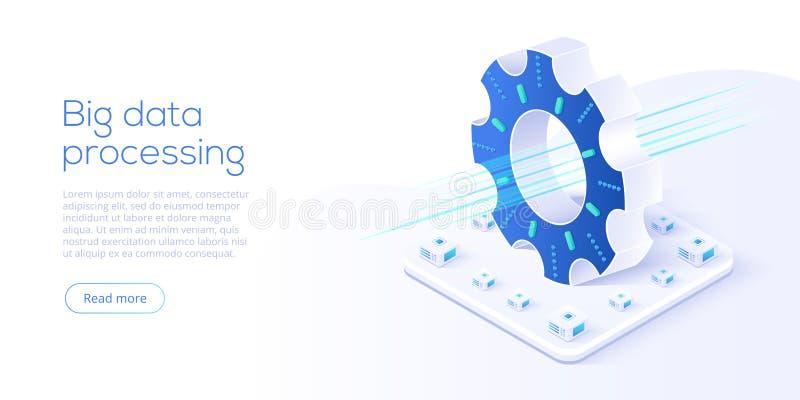 Grote gegevenstechnologie in isometrische vectorillustratie Informatio royalty-vrije illustratie