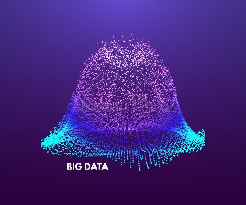 Grote gegevensvisualisatie Golvende achtergrond met dynamisch effect 3d perspectiefnet Abstracte vectorillustratie met punten vector illustratie