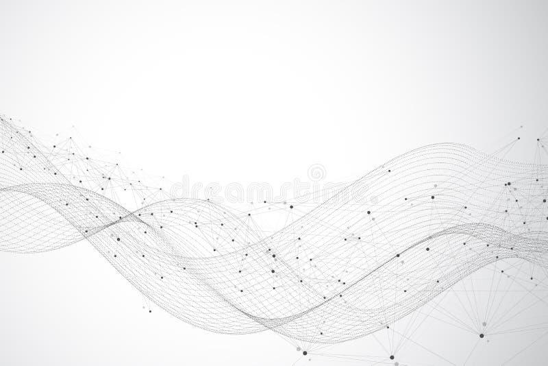 Grote gegevensvisualisatie Grafische abstracte mededeling als achtergrond De visualisatie van de perspectiefachtergrond analytisc royalty-vrije illustratie