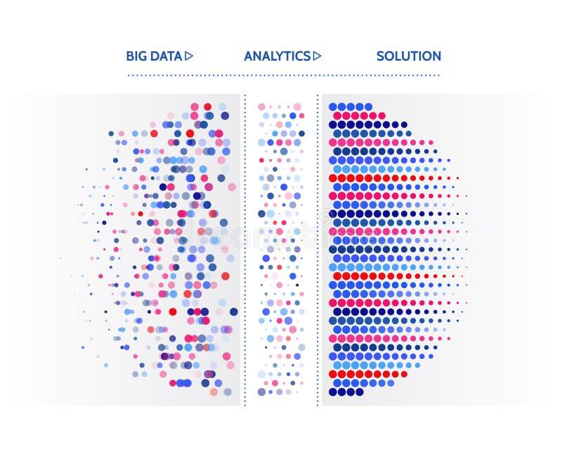 Grote gegevensvisualisatie Het concept van informatieanalytics Abstracte stroominformatie Het filtreren machinealgoritmen Sortere stock illustratie