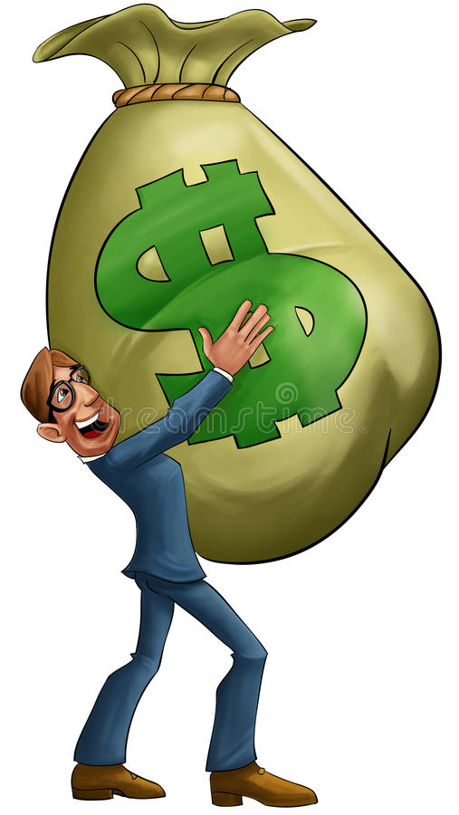 Grote geldzak stock illustratie