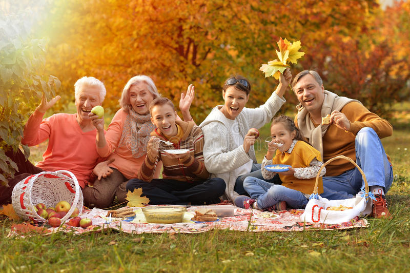 Grote gelukkige familie op picknick royalty-vrije stock foto