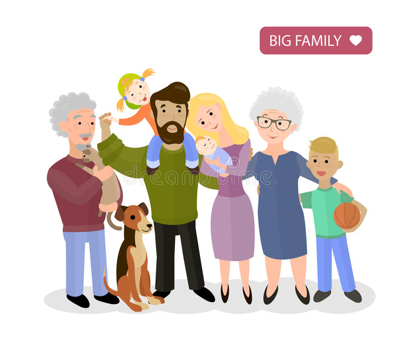 Grote gelukkige familie Ouders met Kinderen, vector vector illustratie