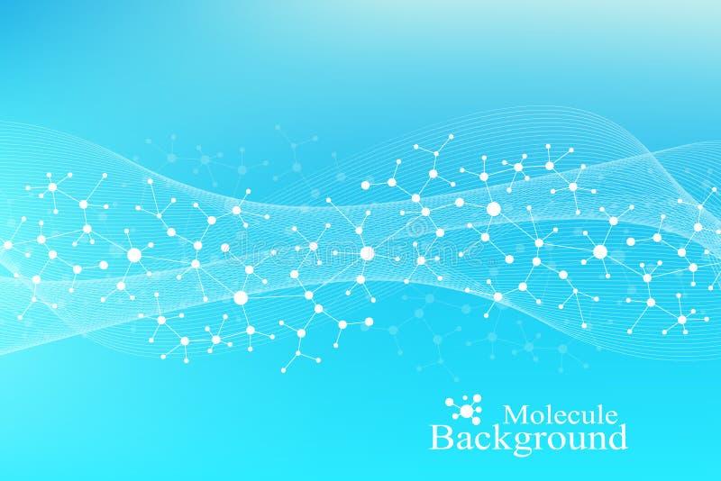 Grote Genomic-Gegevensvisualisatie DNA-schroef, DNA-bundel, DNA-Testmolecule of atoom, neuronen Abstracte structuur voor stock illustratie