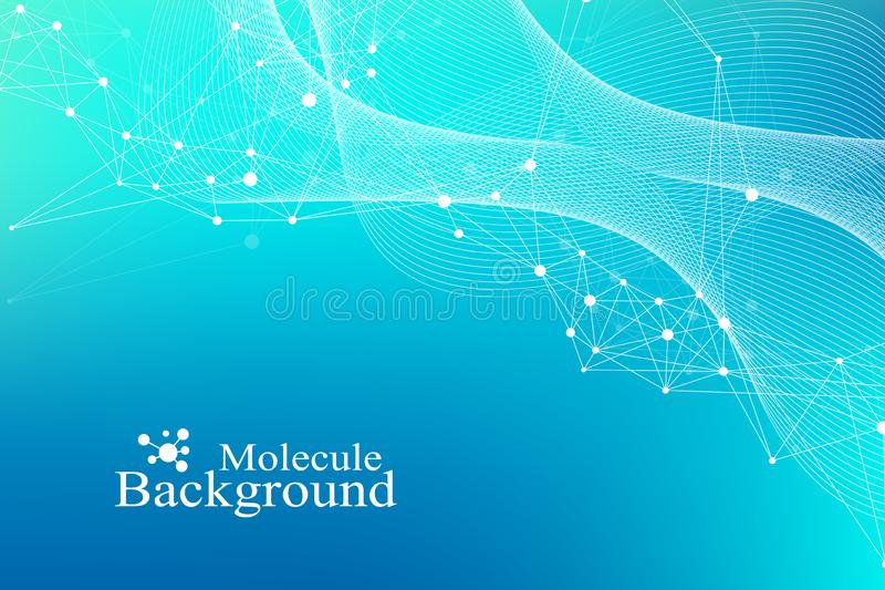 Grote Genomic-Gegevensvisualisatie DNA-schroef, DNA-bundel, DNA-Testmolecule of atoom, neuronen Abstracte structuur voor vector illustratie