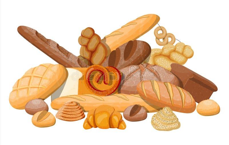 Grote geplaatste broodpictogrammen stock illustratie