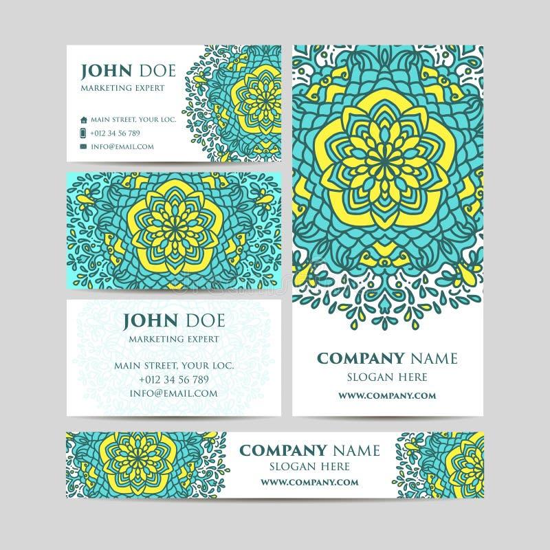 Grote geplaatste malplaatjes Adreskaartjes, uitnodigingen en banners Bloemenmandalapatroon en ornamenten royalty-vrije illustratie
