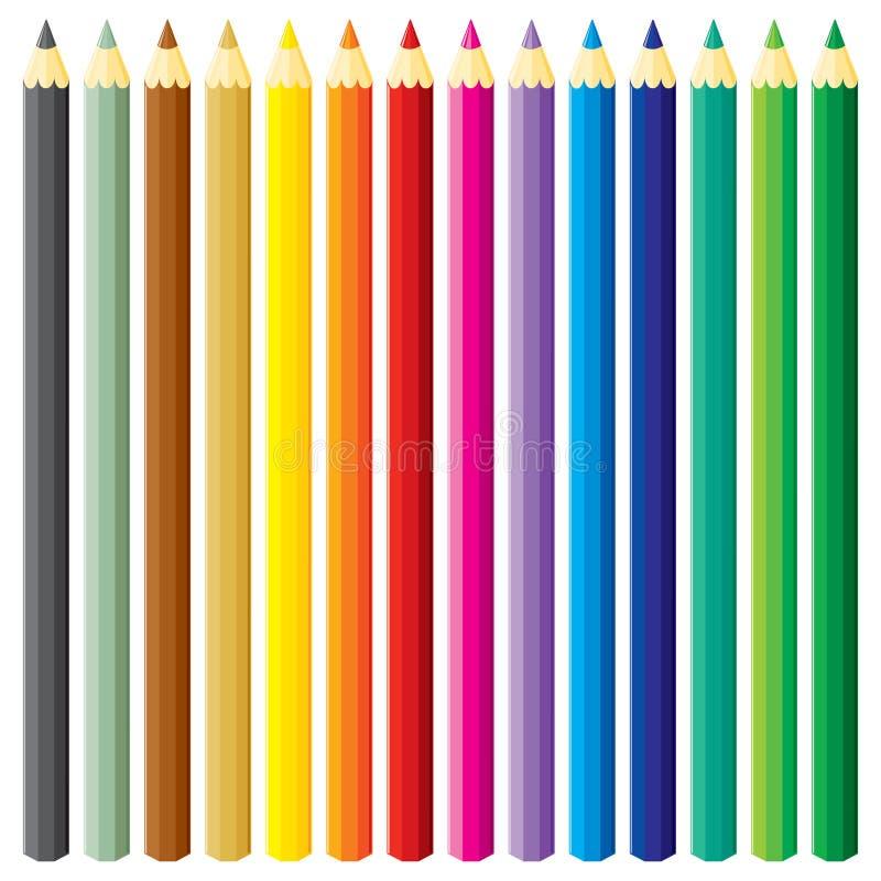 Grote geplaatste potloden stock illustratie