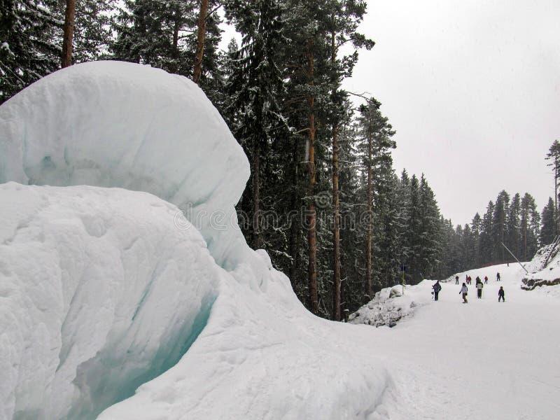 Grote gletsjer op de skihelling royalty-vrije stock afbeeldingen