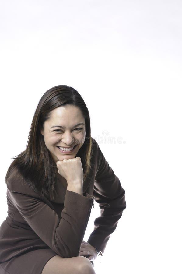 Grote glimlach op jonge vrouwen stock foto