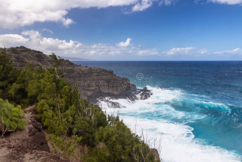 Grote golven bij de het noordenkust van Maui stock foto