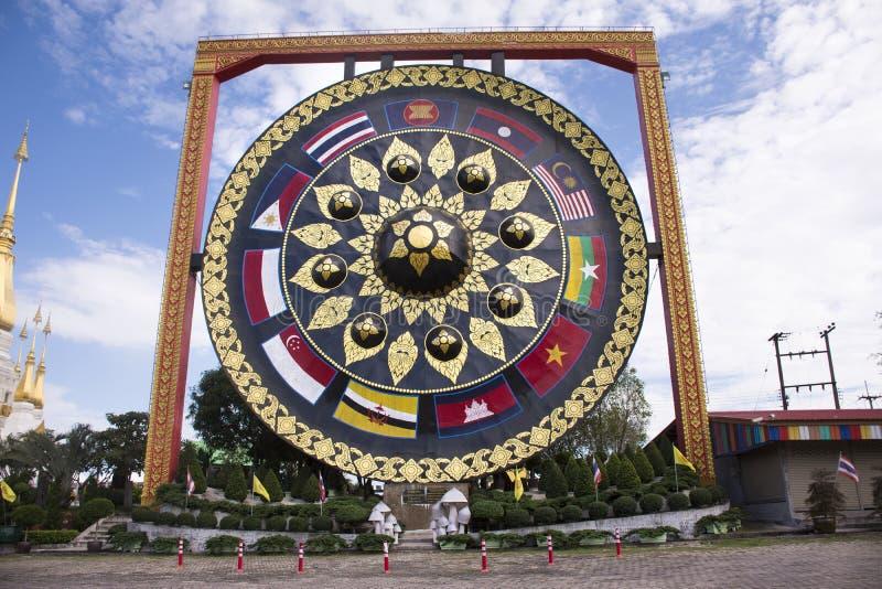 Grote gong Thaise geroepen Khong in Wat Tham Khuha Sawan Temple royalty-vrije stock fotografie