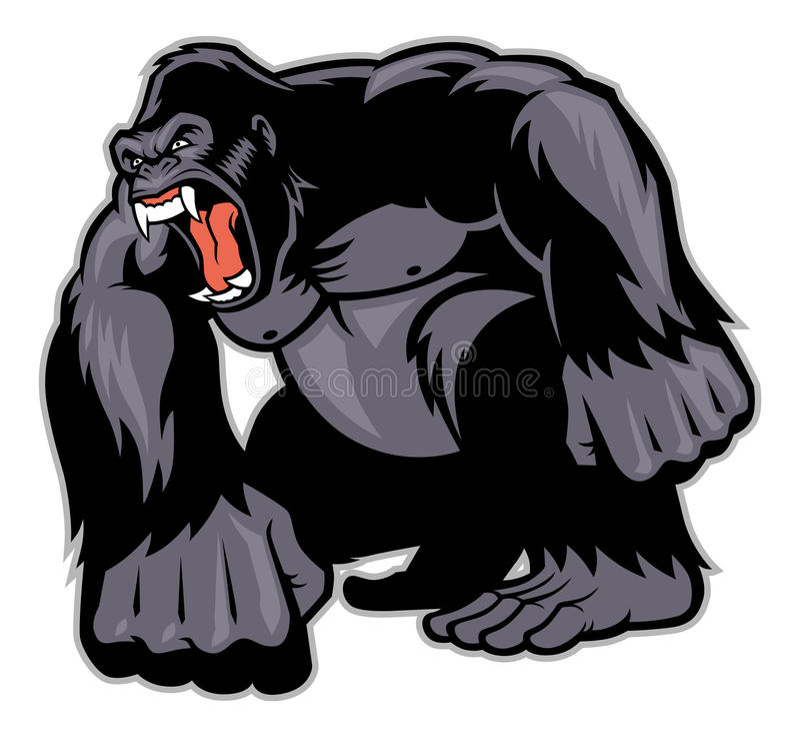 Grote Gorillamascotte royalty-vrije illustratie