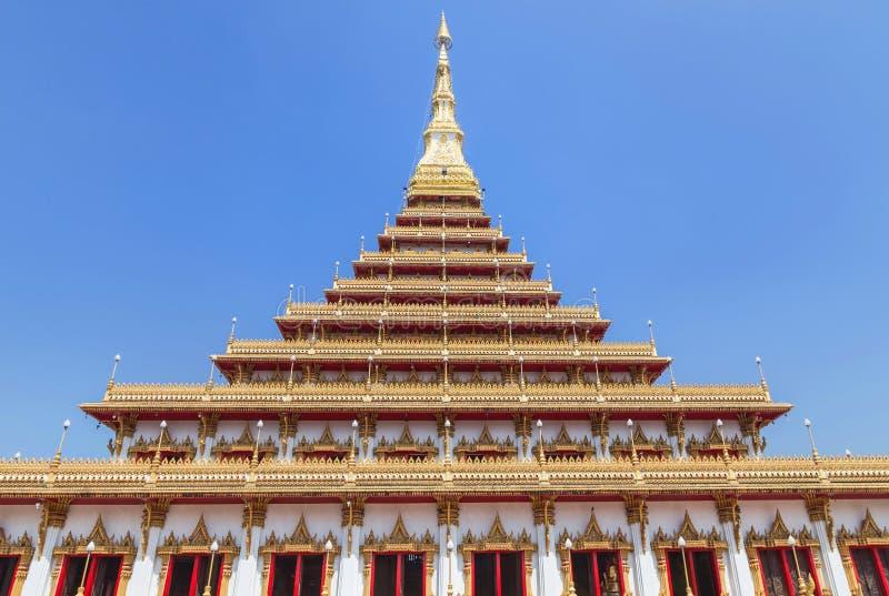 Grote gouden pagode Phramahathat Khan Nakhon of Phra die de openbare Thaise boeddhistische tempel Khon Kaen, Thailand van Nong Wa royalty-vrije stock afbeelding