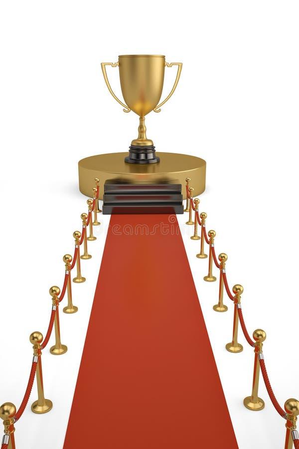 Grote gouden trofee op podium met rode tapijt en barrièrekabel  royalty-vrije stock fotografie