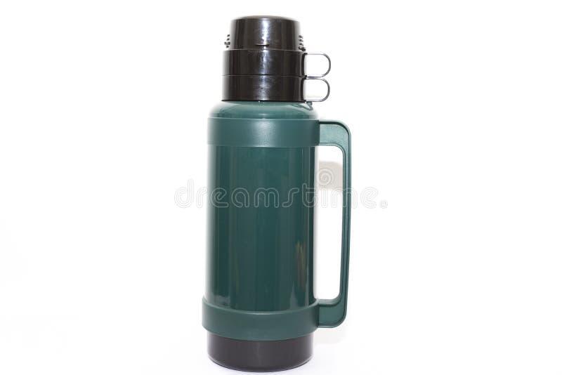 Grote groene plastic thermosfles royalty-vrije stock fotografie