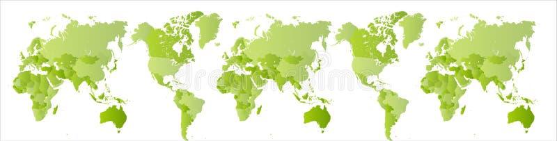 Grote groene wereldkaart Uitgebreide Aarde Bolaftasten Zuidelijke en Noordelijke Hemisfeer op één kaart Wijd geïsoleerd royalty-vrije illustratie