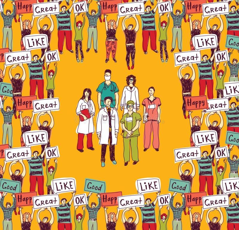 Grote groep artsen en gelukkige patiëntenkleur stock illustratie