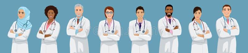 Grote groep artsen verschillend etniciteit vector illustratie