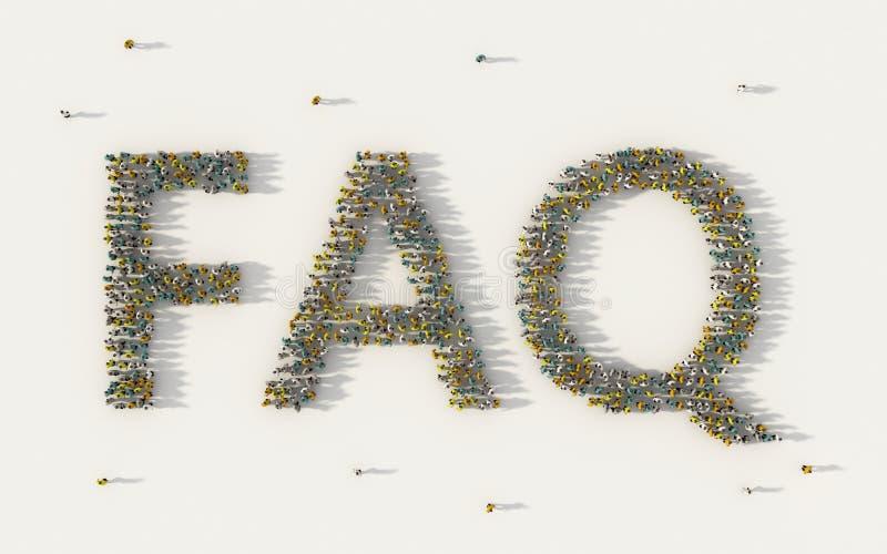 Grote groep die mensen de van letters voorziende teksten van FAQ of veelgestelde vragen in sociale media en communautair concept  stock illustratie