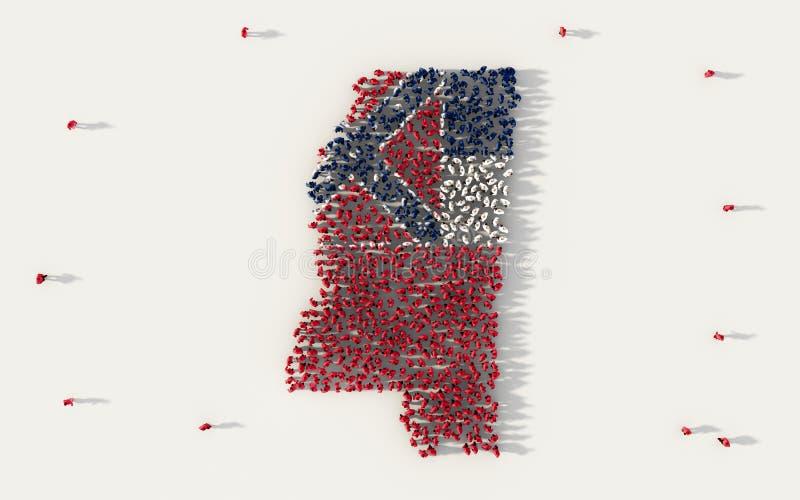 Grote groep die mensen de vlagkaart van de Mississippi in de Verenigde Staten van Amerika, de V.S., in sociale media en communaut royalty-vrije illustratie