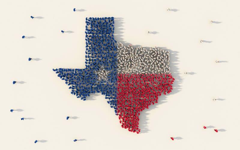 Grote groep die mensen de vlagkaart van Texas in de Verenigde Staten van Amerika in sociale media en communautair concept op wit  vector illustratie