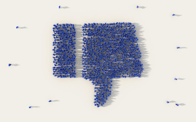 Grote groep die mensen een duim onderaan pictogram in zaken, afkeerknoop in sociale media, en communautair concept op wit vormen royalty-vrije illustratie
