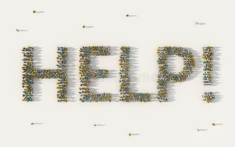 Grote groep die mensen Hulp van letters voorziende teksten in sociale media en communautair concept op witte achtergrond vormen 3 vector illustratie