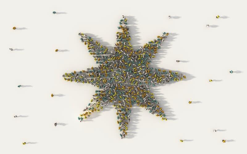 Grote groep die mensen Jodenster in sociale media en communautair concept op witte achtergrond vormen 3d teken van menigte royalty-vrije illustratie