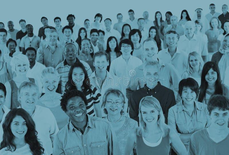 Grote Groep Divers Multi-etnisch Vrolijk Mensenconcept stock afbeeldingen