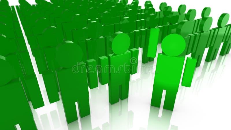 Grote groep groene marionetten met één die vooruit stappen vector illustratie