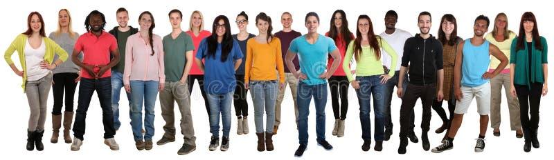 Grote groep het glimlachen jongeren gelukkige multi etnisch royalty-vrije stock fotografie
