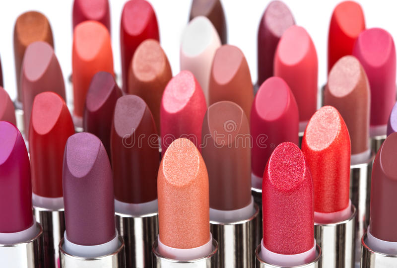Grote groep lippenstiften stock afbeelding