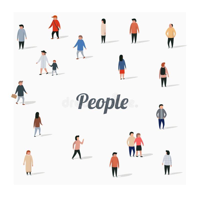 Grote groep lopende mensen Vlakke beeldverhaalkarakters vector illustratie