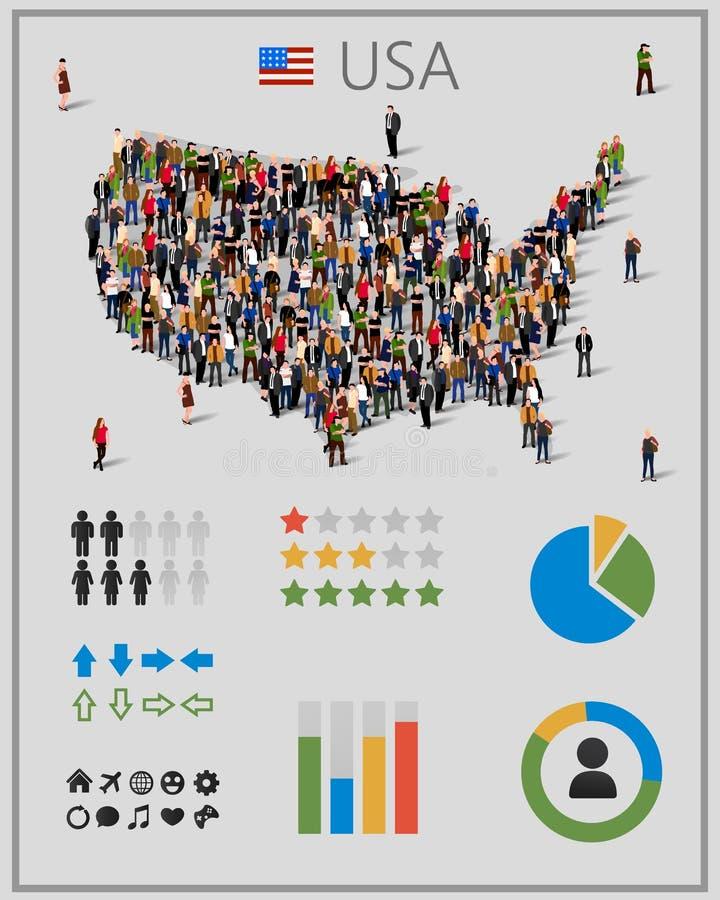 Grote groep mensen in de kaart van de Verenigde Staten van Amerika of van de V.S. met infographicselementen stock illustratie