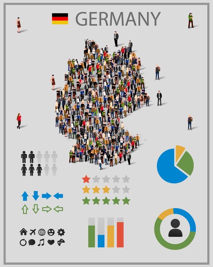 Grote groep mensen in de kaart van Duitsland met infographicselementen Achtergrond voor presentatie stock illustratie