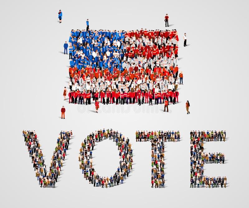 Grote groep mensen in de vorm van de vlag van de Verenigde Staten van Amerika en stemwoord De V.S. stock illustratie