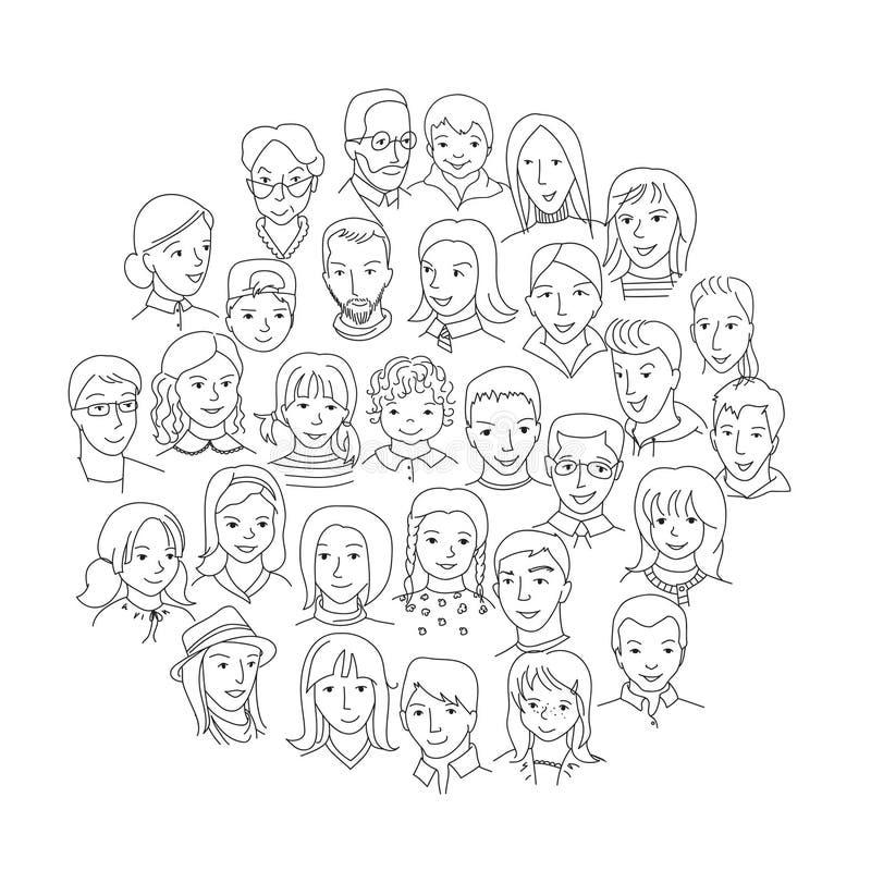 Grote groep mensen om concept royalty-vrije illustratie
