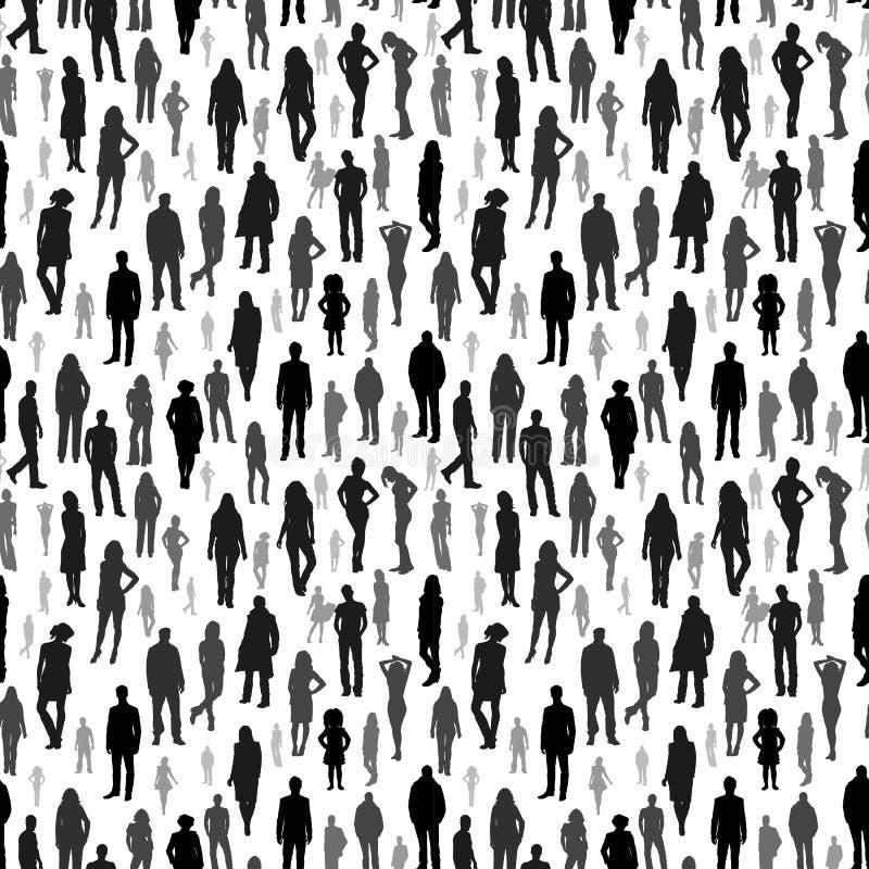 Grote groep mensen Vector naadloos patroon stock illustratie