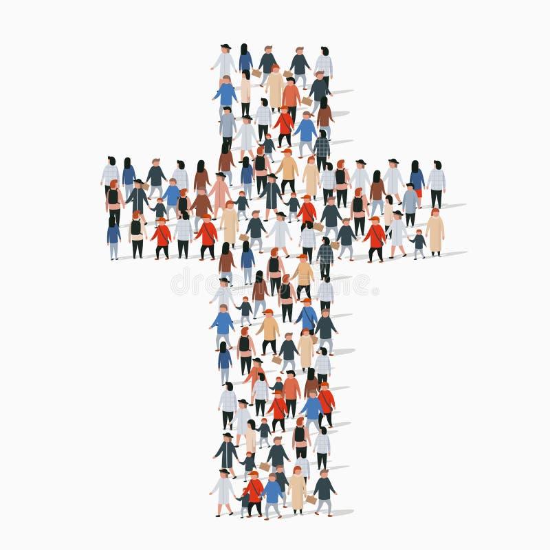 Grote groep mensen in vorm van christelijk kruis vector illustratie