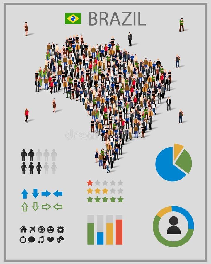 Grote groep mensen in vorm van de kaart van Brazilië met infographicselementen Achtergrond voor presentatie royalty-vrije illustratie