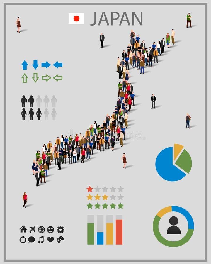 Grote groep mensen in vorm van de kaart van Japan Achtergrond voor presentatie vector illustratie