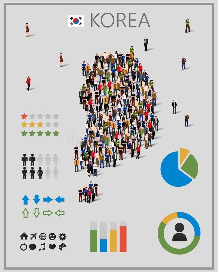 Grote groep mensen in vorm van de kaart van Zuid-Korea met infographicselementen royalty-vrije illustratie