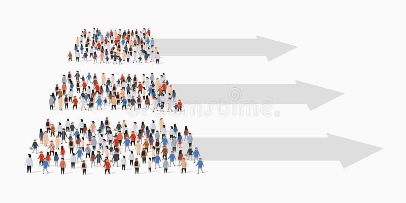 Grote groep mensen in vorm van piramide Metaball kleurrijk rond diagram met bars en tekst stock illustratie