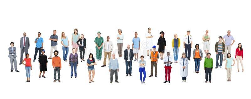 Grote Groep Multi-etnische Mensen met Diverse Beroepen stock afbeelding
